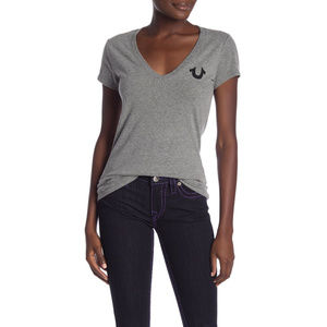 True Religion Women's Deep V-Neck Tee T-Shirt